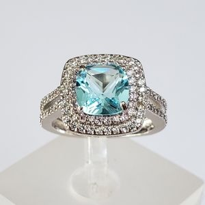 Jewelry - Sterling Blue with Pink Halo Ring